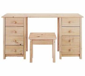Ex-display Scandinavia 8 Drawer Dressing Table and Stool - Pine