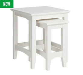 Camborne Nest of 2 Solid Wood Tables - White