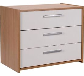Ex Display Sywell 3 Drawer Chest - Oak Effect & White Gloss