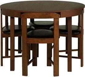 Hygena Alena Walnut Circular Dining Table and 4 Chairs - Damaged