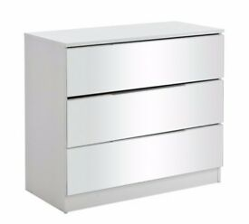 Sandon 3 Drawer Chest - White and Mirrored