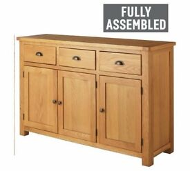 Ex display Kent 3 Door 3 Drawer Oak & Oak Veneer Sideboard