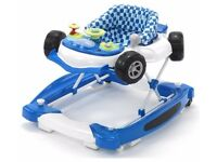 Blue race car baby walker used