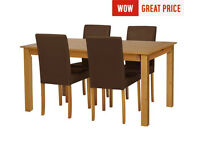 HOME Ashdon Solid Wood Table & 4 Mid Back Chairs - Chocolate
