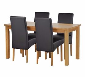Ex-display Ashdon Solid Wood Table & 4 Skirted Chairs - Black