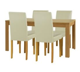 Ex Display Penley Extendable Dining Table & 4 Chairs - Cream