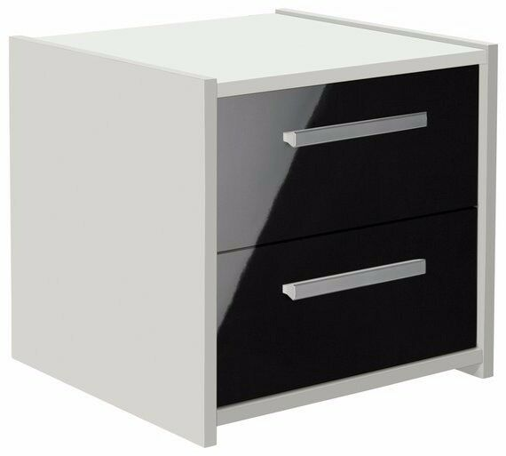 Ex display Sywell 2 Drawer Bedside Chest - White & Black Gloss