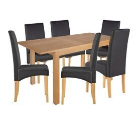 Clifton Extendable Oak Table 6 Chairs