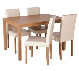 Ex display Elmdon Oak Effect Dining Table & 4 Chairs - Cream