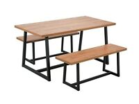 Nomad 160cm Dining Table and 2 Benches