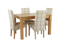 Collection Swanbourne Ext Oak Veneer Table & 4Chairs - Check
