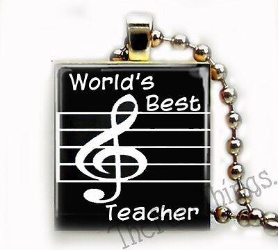 World's Best Music Teacher Scrabble Tile Pendant for Necklace Teaching Gift (Best Music Teachers)