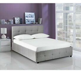 New Double bed frame. OTTO bed (end lifts). Grey fabric. Bargain Boxed. Delivery available