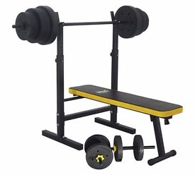Everlast weight bench & dumbells