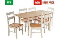 Fully assembled Chicago Ext Solid Wood Dining Table & 6 Chairs