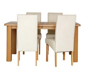 Collection Stonebury Oak Veneer Table & 4 Chairs - Cream