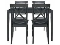 HOME Jessie Dining Table & 4 Solid Wood Chairs - Black