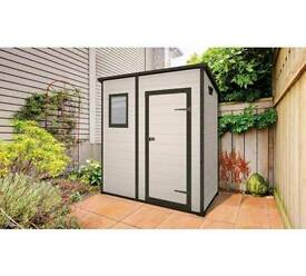 RRP £499 NEW Keter Manor Pent Resin Outdoor Garden Storage Shed 6 x 4 ft BEIGE