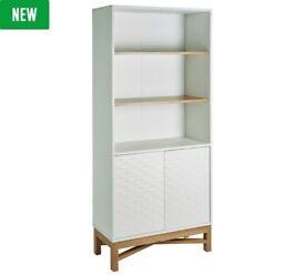 Hygena Zander Textured Bookcase - White & Oak Effect