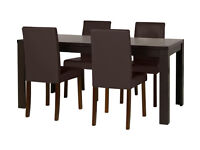 HOME Penley Walnut Ext Dining Table & 4 Chairs - Choc