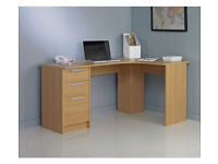 HOME Large 3 Drawer Corner Desk - Oak Effect