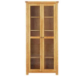 Heart of House Kent 2 Dr Glass Display Cabinet - Oak Veneer