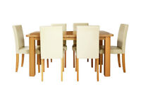 Heyford Ext Wood Effect Dining Table & 6 Chairs - Cream/Choc