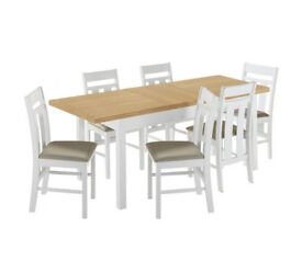 Heart of House Castleton Ext Table & 6 Chairs - Two Tone