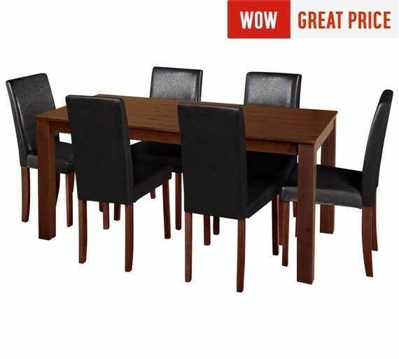 Ex display Ashdon Solid Wood Table & 6 Mid Back Chairs - Black