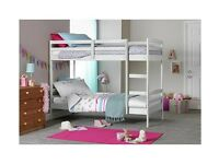 Josie Shorty Bunk Bed Frame with mattresses - White
