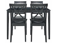 Fully assembled Jessie Table and 4 Chairs - Black