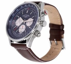 Rotary Men's Stainless Steel Chronograph Leather Strap Watch in original box