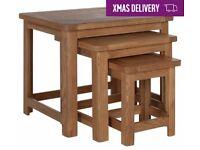 Ex display Kent Nest of 3 Solid Oak & Oak Veneer Tables