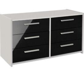 HOME New Sywell 3+3 Drawer Chest - White & Black Gloss
