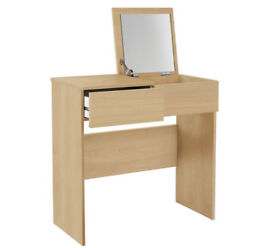 HOME Malibu 1 Drw Dressing Table With Mirror - Beech Effect