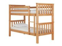 single wooden bunk bed frame with choice of mattress
