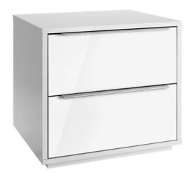 Hygena Bergen 2 Drawer Bedside Chest - White Gloss