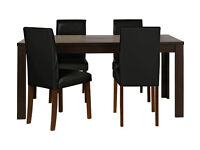 HOME Penley Extendable Dining Table & 4 Chairs - Black