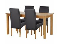 Ex display Ashdon Solid Wood Table & 4 Skirted Chairs - Black