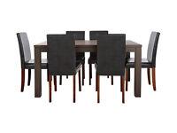 HOME Pemberton Oak Veneer Dining Table & 6 Chairs - Black