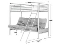 Metal Bunk Bed Frame with Futon - Blue