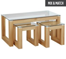 Compact Glass Top Coffee Table Set