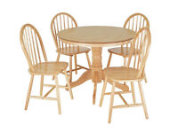 Fully assembled Kentucky Wood Veneer Table & 4 Chairs - Natural