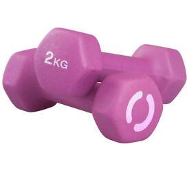Two Pink Neoprene Dumbbells, 2kg each