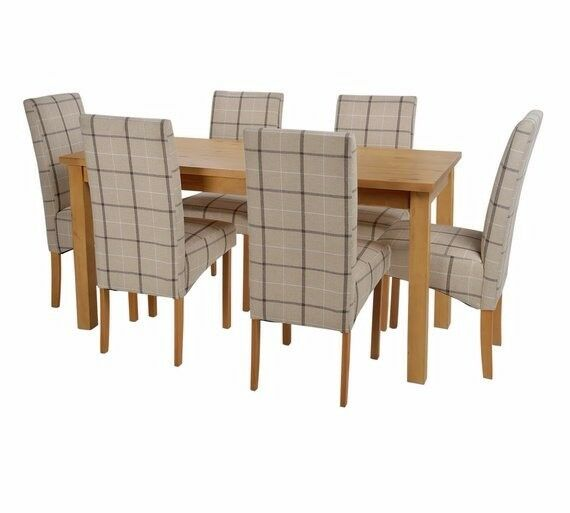 Ex display Ashdon Solid Wood Table & 6 Skirted Chairs - Checked