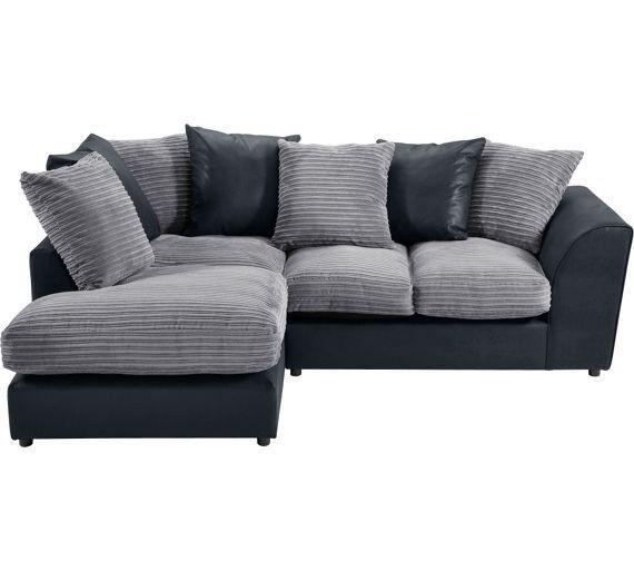 Argos Used Corner Sofa In Grey Suade And Black Leather