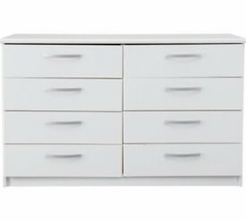 Ex display Hallingford 4+4 Drawer Chest - White