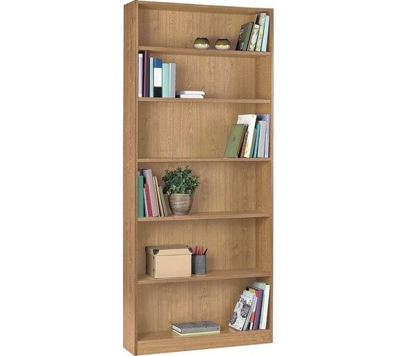 HOME Maine 5 Shelf Tall Wide Bookcase - Oak Effect