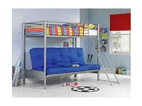 New Silver metal Futon bunk bed frame. Bargain as no mattress. Boxed. Delivery available.