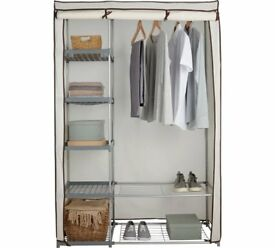 HOME Metal and Polycotton Double Wardrobe - Cream